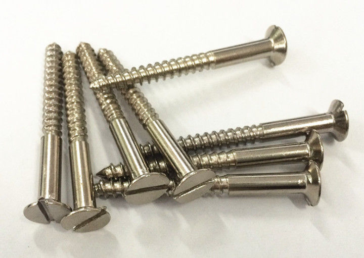 Rust Resistant Stainless Steel Wood Screws Slotted Round Head Brass Coated M5 M6